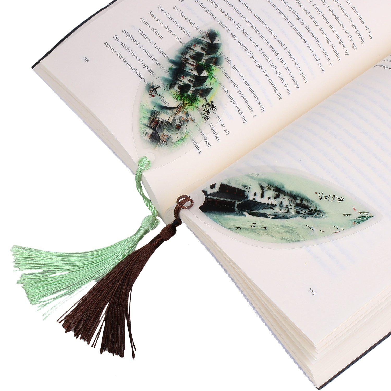 GTHER 2PCS Leaf Bookmarks Handmade Natural Leaf Vein Bookmark Fancy Bookmark Chinese Bookmark for School Office Study Art Decoration Creative Gift Business Gift Unique Gift, Town