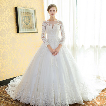 Zh0566f Best Selling Wedding Dress In The Word Shoulder Sleeve