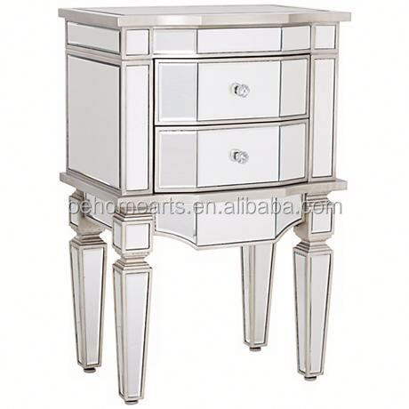 New design cheap price hot sale bedside mirrored table