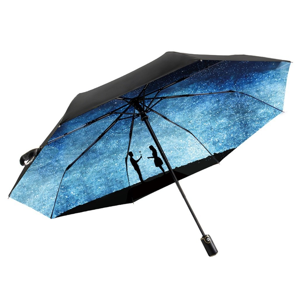 HUACANG Sun umbrella foldable sun protection UV protection umbrella, automatic switch compact travel windproof sturdy waterproof umbrella (black + blue)