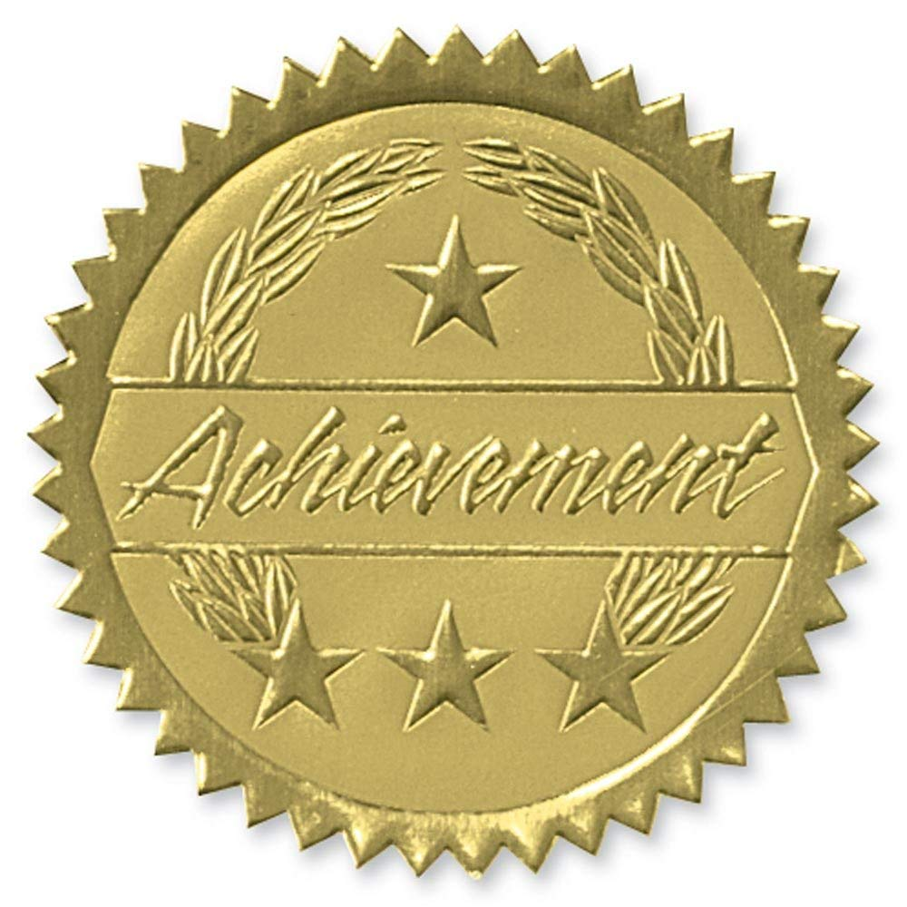 Deluxe Embossed Achievement Two-Tone Gold Foil Certificate Seals, 2 Inch, Self Adhesive, 102 Count