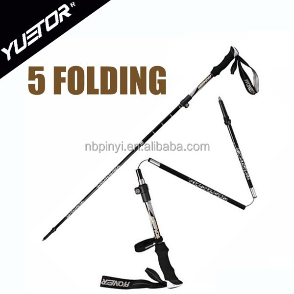 35-120CM carbon fiber 5 Folding adjustable nordic nordic hiking sticks walking stick camping equipment