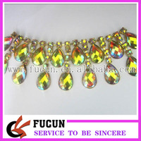 hot sale wholesale fashion rhinestone cup chain with gold trimming