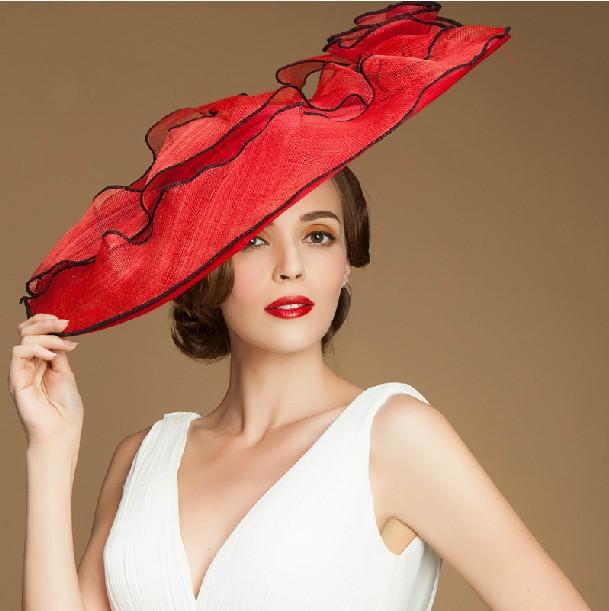 Unique Red Wide Brim Sinamay Fancy Church Hats For Sale - Buy Church ... 5bffef4b614