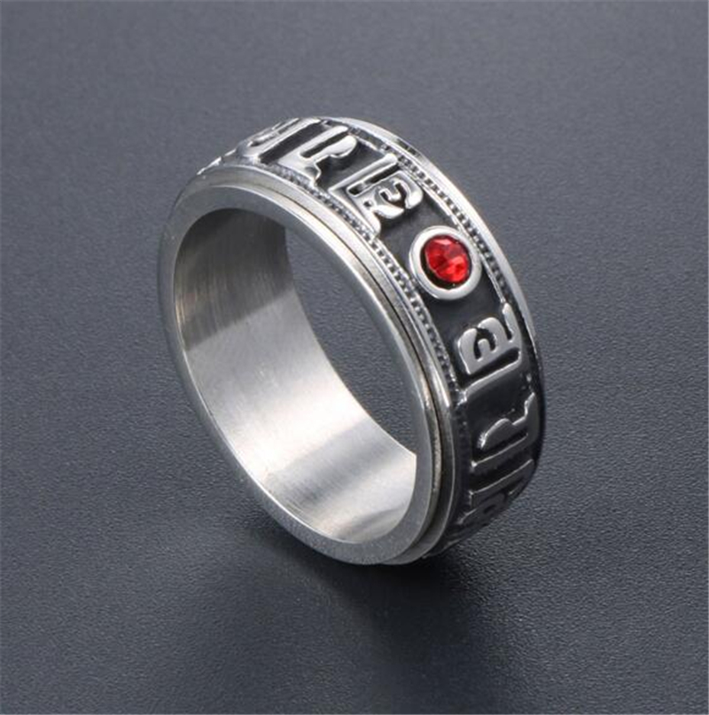 Rotating six-character diamond ring men and women index finger titanium steel ring