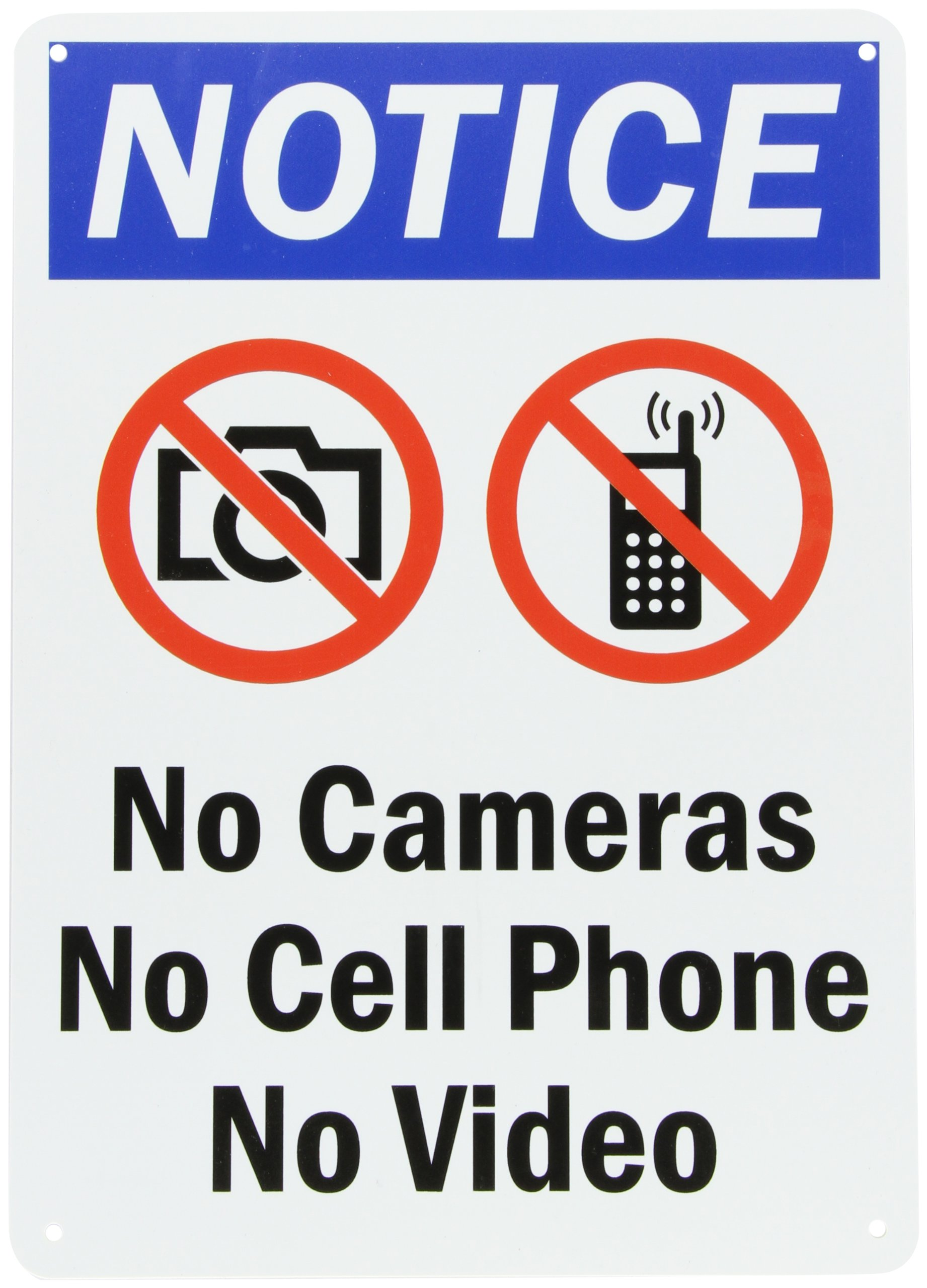 "SmartSign Plastic Sign, Legend ""Notice: No Cameras No Cell Phone No Video"" with Graphic, 14"" high x 10"" wide, Black/Blue/Red on White"