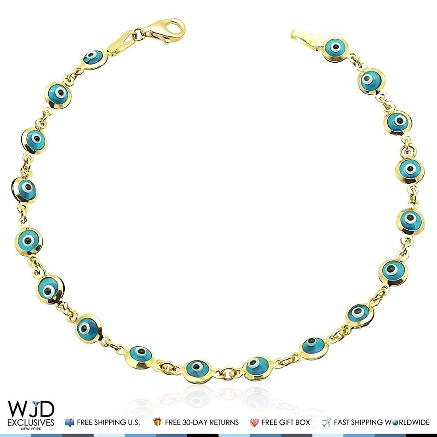 14k Yellow Gold Good Luck Evil Eye Cable Charm Bracelet 7.25""