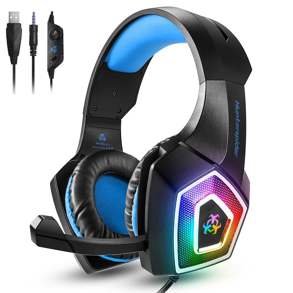 GlobalCrown <strong>V1</strong> Gaming Headset Over ear headphones wired control with Mic LED Light