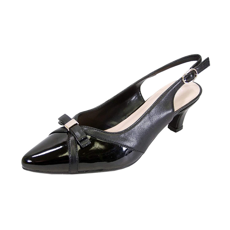 fdafc0986af Get Quotations · Peerage Sammy Women Wide Width Comfort Slingback Low Heel  Dress Shoes for Wedding