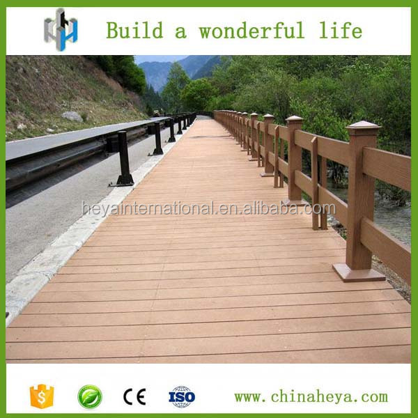 Chinaheya Weather resistant anti-UV WPC plastic dock decking, hollow composite decking board