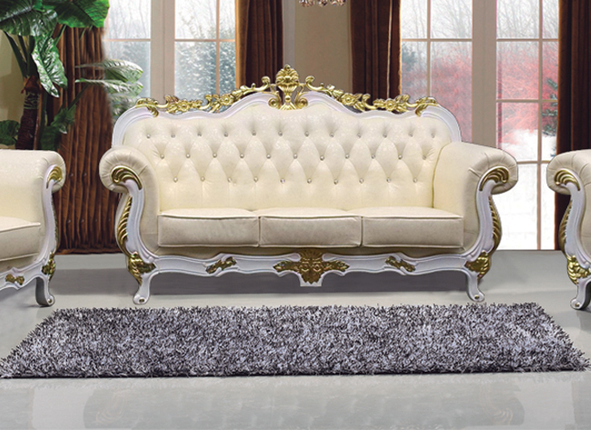 Ornate Sofas Chaise Longue Large Gold Cream Faux Leather
