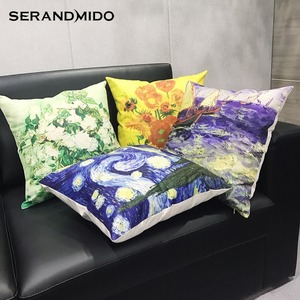 Hand painted Printed Natural Linen Custom Cushion Cover