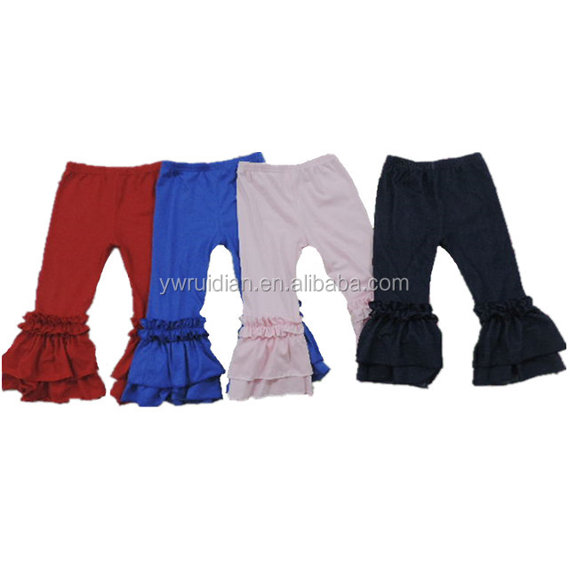 high quality kids ruffle pants pure cotton trousers solid color girls long pants children wholesale clothing