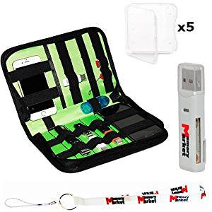 MemoryMarket Nylon Fabric Storage Holder / Wallet / Carrying Case / Bag / Organizer for USB Flash Drives/Pen Drives/HDD/Power Bank/SD Card/Ipod/Cell Phone with 5 SD Cases,Lanyard & Memory Card Reader