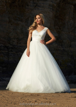 Zm16148 Elegant Western Style Wedding Dresses Lace Plus Size Ball Gown With Rhinestones Factory