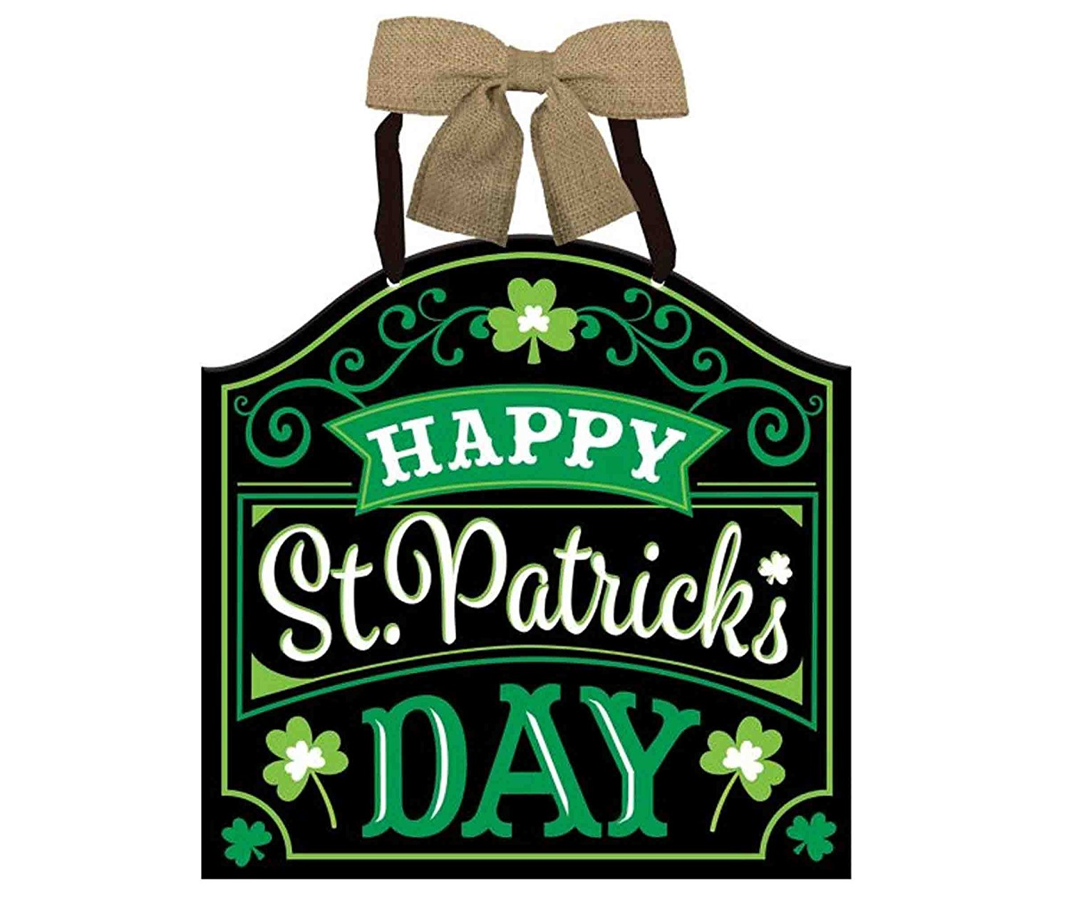 Mozlly Multipack - Amscan Happy St Patricks Day Irish Door Sign - 12 x 11.75 inch - Burlap Bow and Ribbon Hanger - Black and Green - Clovers - Home Decor Accent - Holiday Party Supplies (Pack of 6)