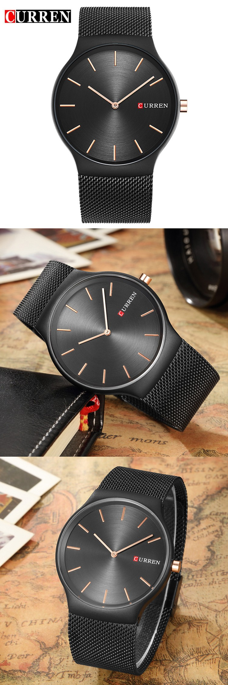 CURREN Relogio Masculino New Mens Watches Top Brand Luxury Stainless Steel Analog Quartz Watch Men Fashion Business Wristwatch