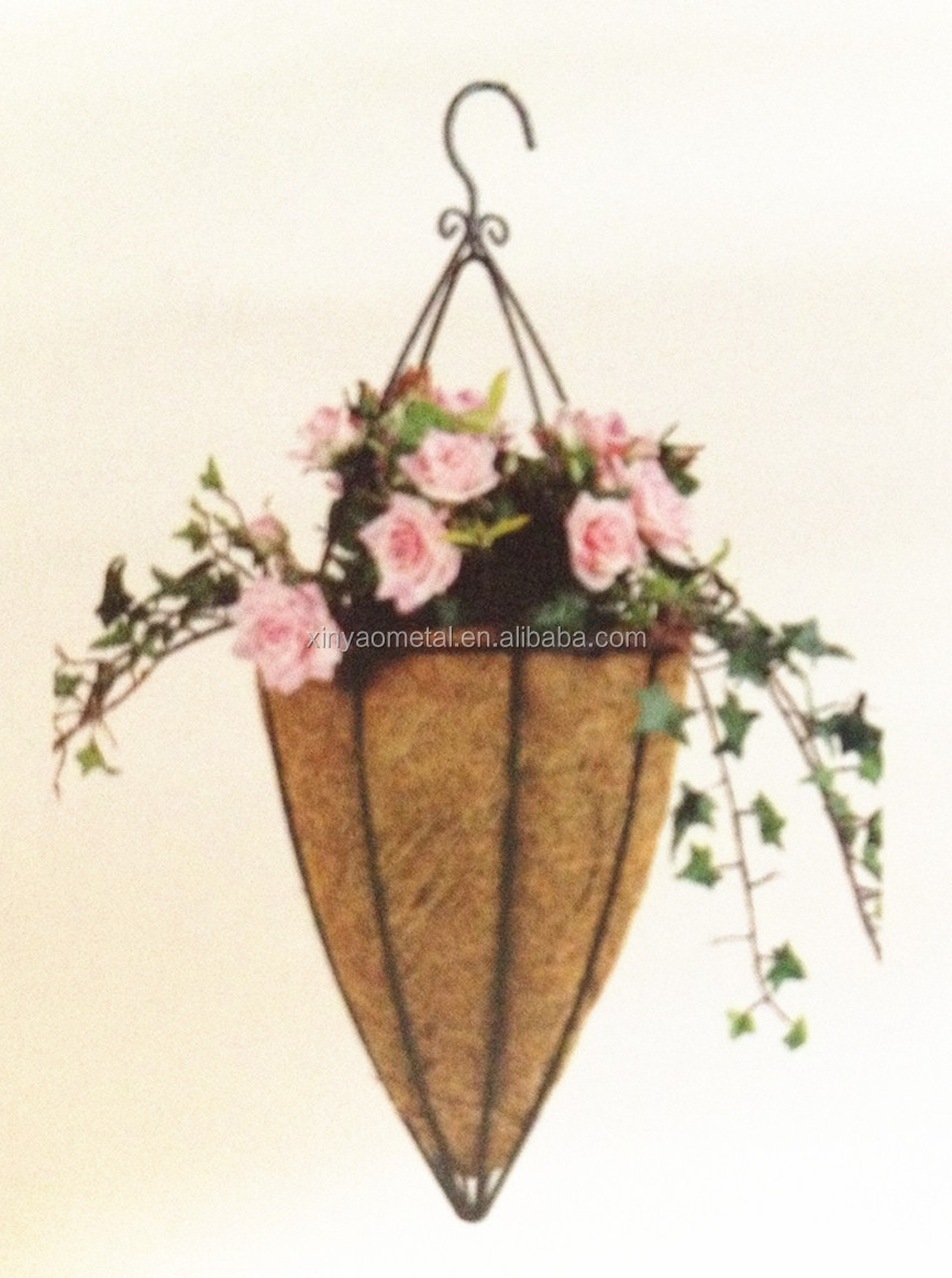 Hanging Flower Baskets Cone Shaped : Cone shape hanging basket with hooks metal wire