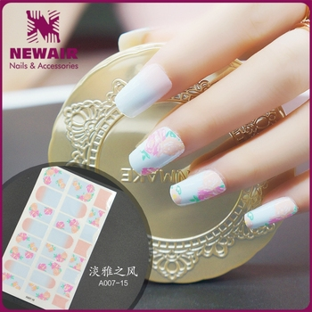 2017 Water Transfer Printing Uv Gel Feather Design Nail Foil Sticker