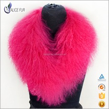 Wholesale colorful Fashionable Real mongolian lamb fur collar detachable animal fur shawl neck collar for coat and ladies parka
