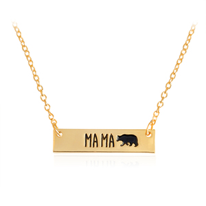 MA MA Bear Bar Pendant Necklaces Gold Silver Charm collar Mommy and Me Adoption Jewelry New Mom Mother Birthday Gift