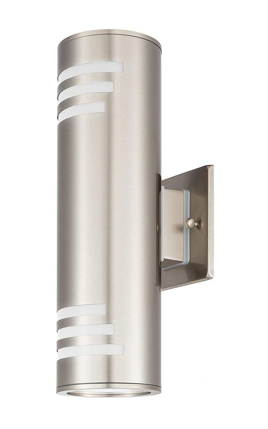 Outdoor Modern Wall Sconce by COOL CARE - Exterior Lighting and Contemporary Housing Décor - Waterproof Stainless Steel Flush Mount Cylinder Design - Up Down Light Fixture for Backyard, Patio (Silver)