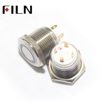 Flm19ss-fj-et 19mm Short Type Yellow Led 24v Momentary Push on Switch on