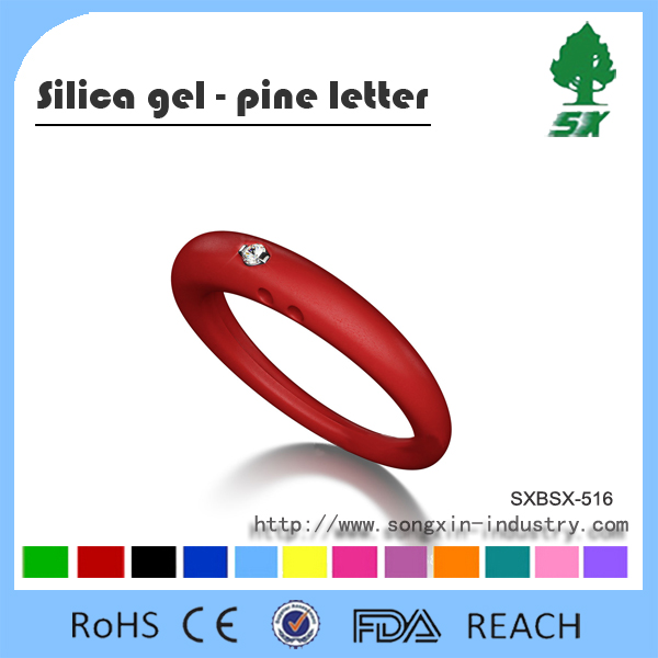 Silicone Ring With Artificial Diamond