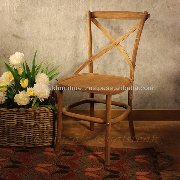 Antique French Crossback Teak Dining Chairs With Distressed Finish