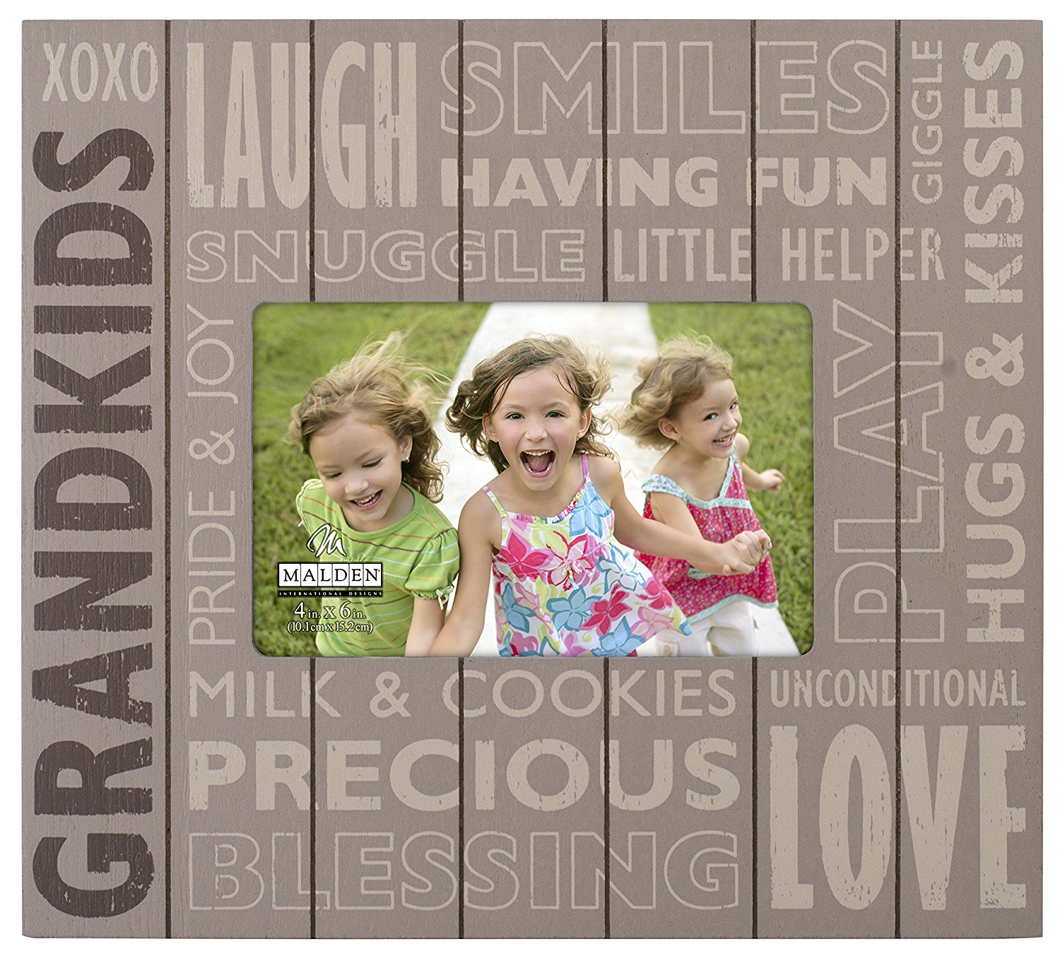 """Malden International Designs Subway Signs Silkscreened on Distressed Routed Wood """"Grandkids"""" Brown Picture Frame, 4x6, Brown"""