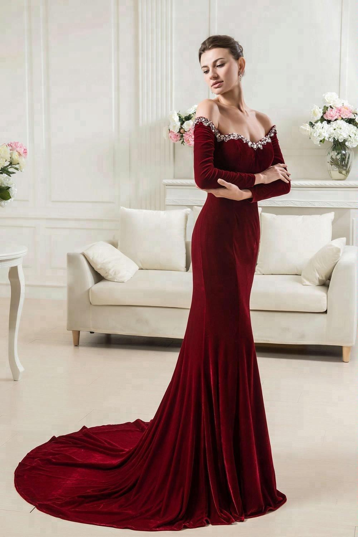 China Velvet Evening Gowns Wholesale Alibaba Minimal Floral Pearls Cap Sleeve Dress Biru M