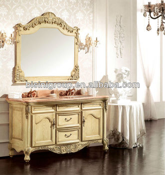 Lastest French Style Vanity Unit Design,Vintage Bathroom Vanities Mirror  Cabinet,Beautiful Bathroom Furniture