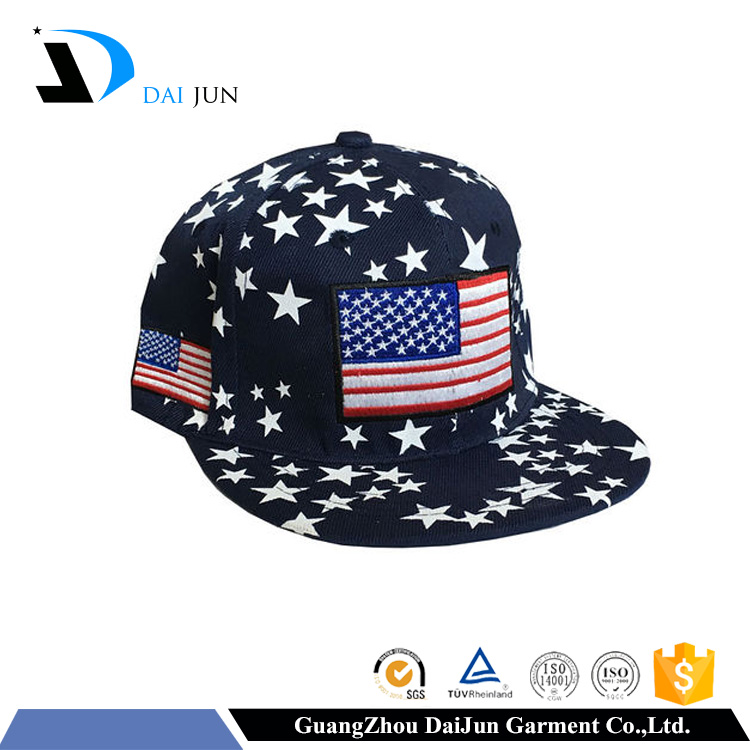 2016 New design 100% cotton embroidery plastic navy bule star logo flat buckle with label custom fashion snapback hats paypal