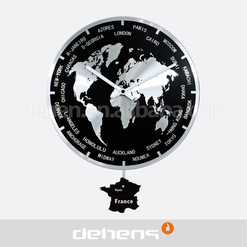 Deheng 2016 World Map Wall Clock With Pendulum Buy Wall Clock