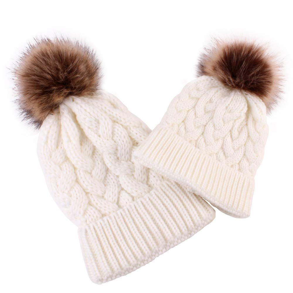 SUKEQ 2 Piece Parent-Child Winter Hat, Mother Baby Daughter Son Warm Chunky Knit Hat Crochet Family Matching Beanie Ski Cap with Faux Fur Pompom (White)