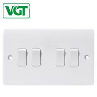 Factory provide British standard 4 gang 1 way electric switches