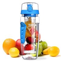 wholesales 900ML BPA Free Plastic Fruit Infuser Water Bottle With Filter, Leakproof Sport Hiking Camping Drink Shaker Bottle