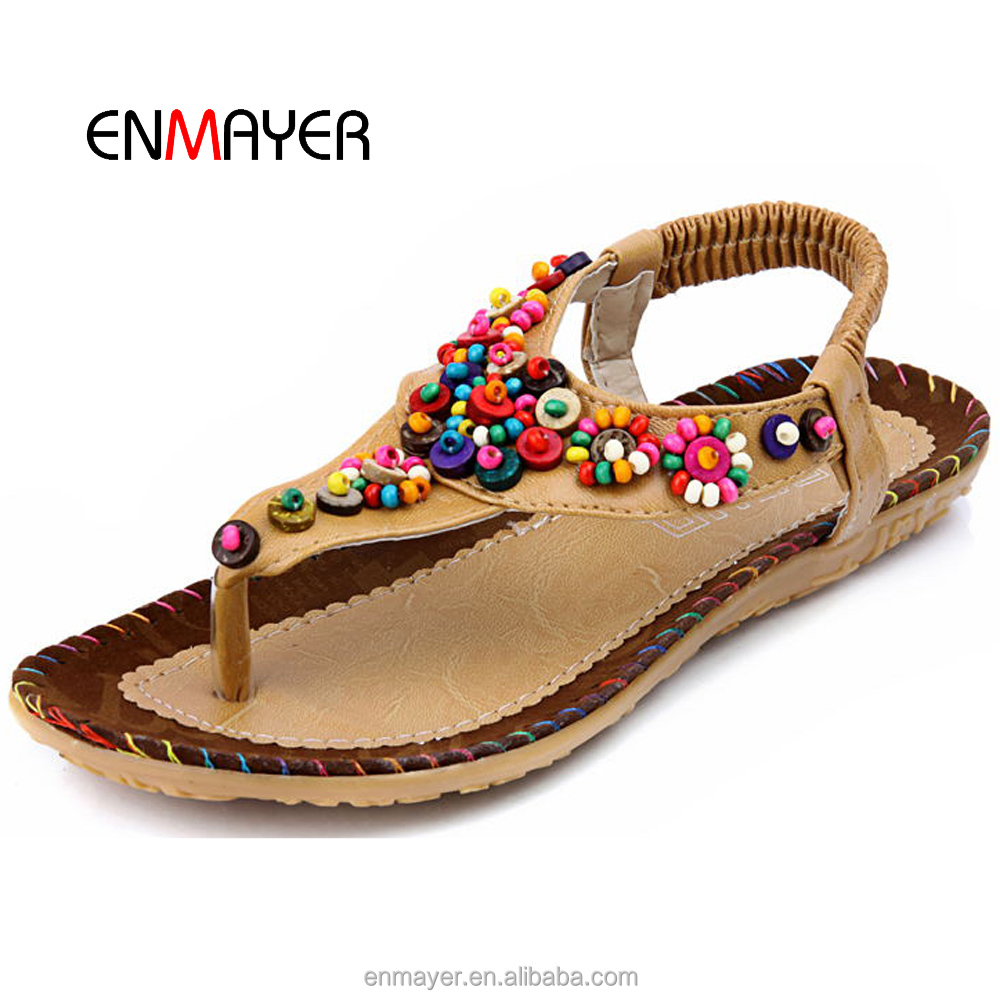 Bohemian style mark thread colorful beads flat summer <strong>sandals</strong> and slippers for ladies pictures