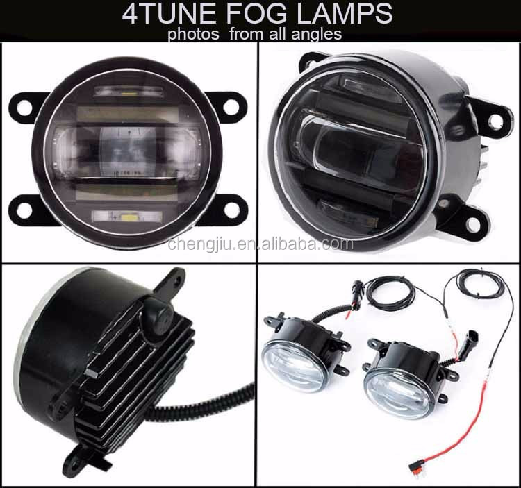 Factory waterproof car accessories offroad LED front lamp DRL 90mm car led fog light with daytime running lights CE auto parts