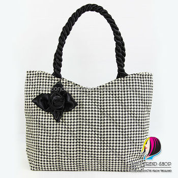 Handbags Dot Arrow Tote Bags With Front Rose Ribbon And Twisted Fabric Handle Cloth