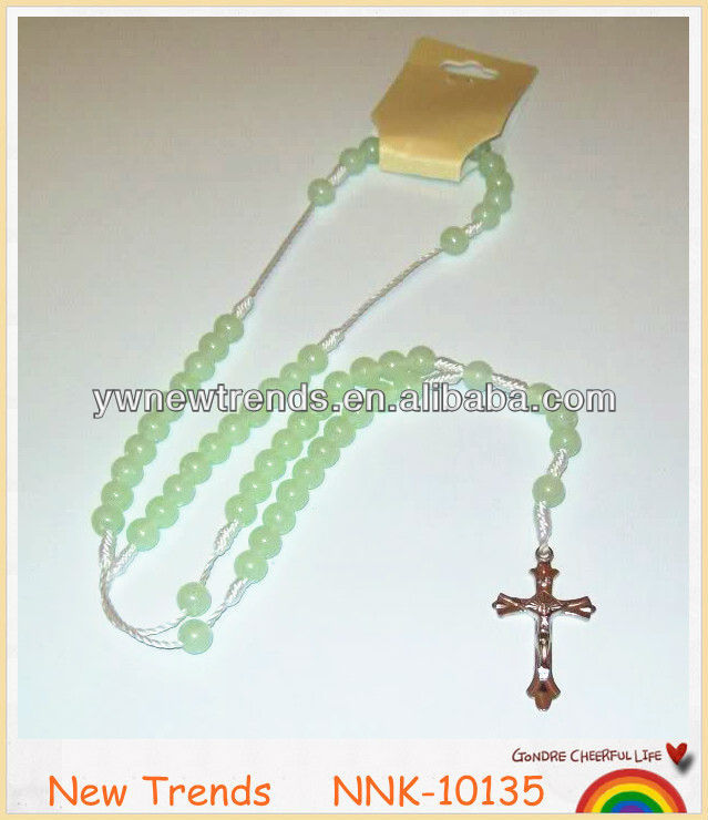 Green glass bead rosary, natural jade cross necklace