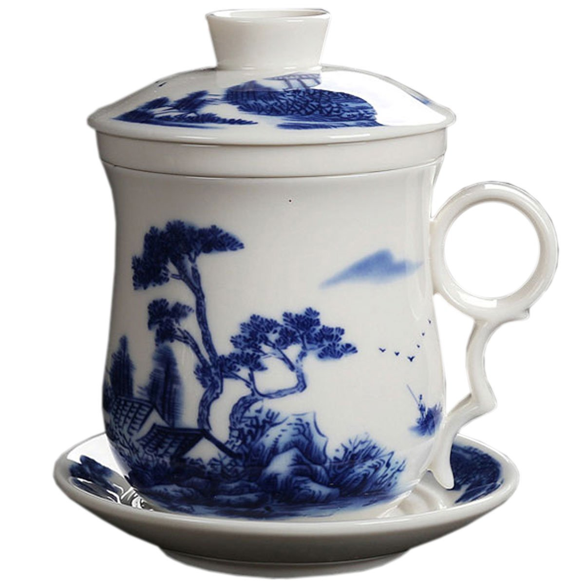 BandTie Convenient Travel Office Loose Leaf Tea Brewing System-Chinese Jingdezhen Blue and White Porcelain Tea Cup Infuser 4-Piece Set with Tea Cup Lid and Saucer (Tree Pattern)