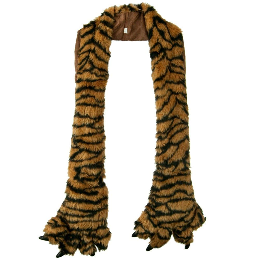 Furry Animal Scarf with Paws - Tiger W30S44E