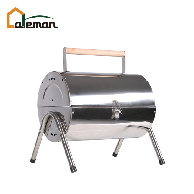 Stainless Steel Barrel Charcoal Barbecue Grill, Double-sided BBQ, Portable Oil Drum Style BBQ Grill w/Double Twin Grate Grill