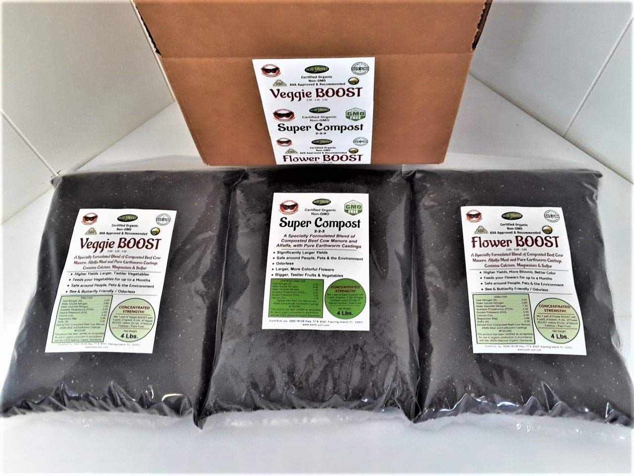 Super Compost Tri-Pack is all you need for Springtime! 1, 4Lb. Bag of Veggie Bloom, 1,4Lb. Bag of Flower Bloom and 1, 4 Lb. Bag of Super Compost. Each bag makes 20 Lbs. of the very best compost!
