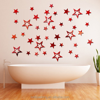 wall stickers diy wood 3d star shape home decal living room murals