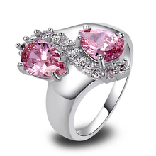 WY 2016 Free Shipping Women Lovely Pear Cut Pink Sapphire White Topaz Silver Ring Size 7