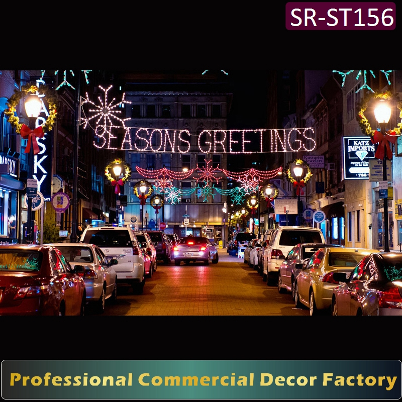 Customize commercial cross Street overhead LED seasons greeting silhouette
