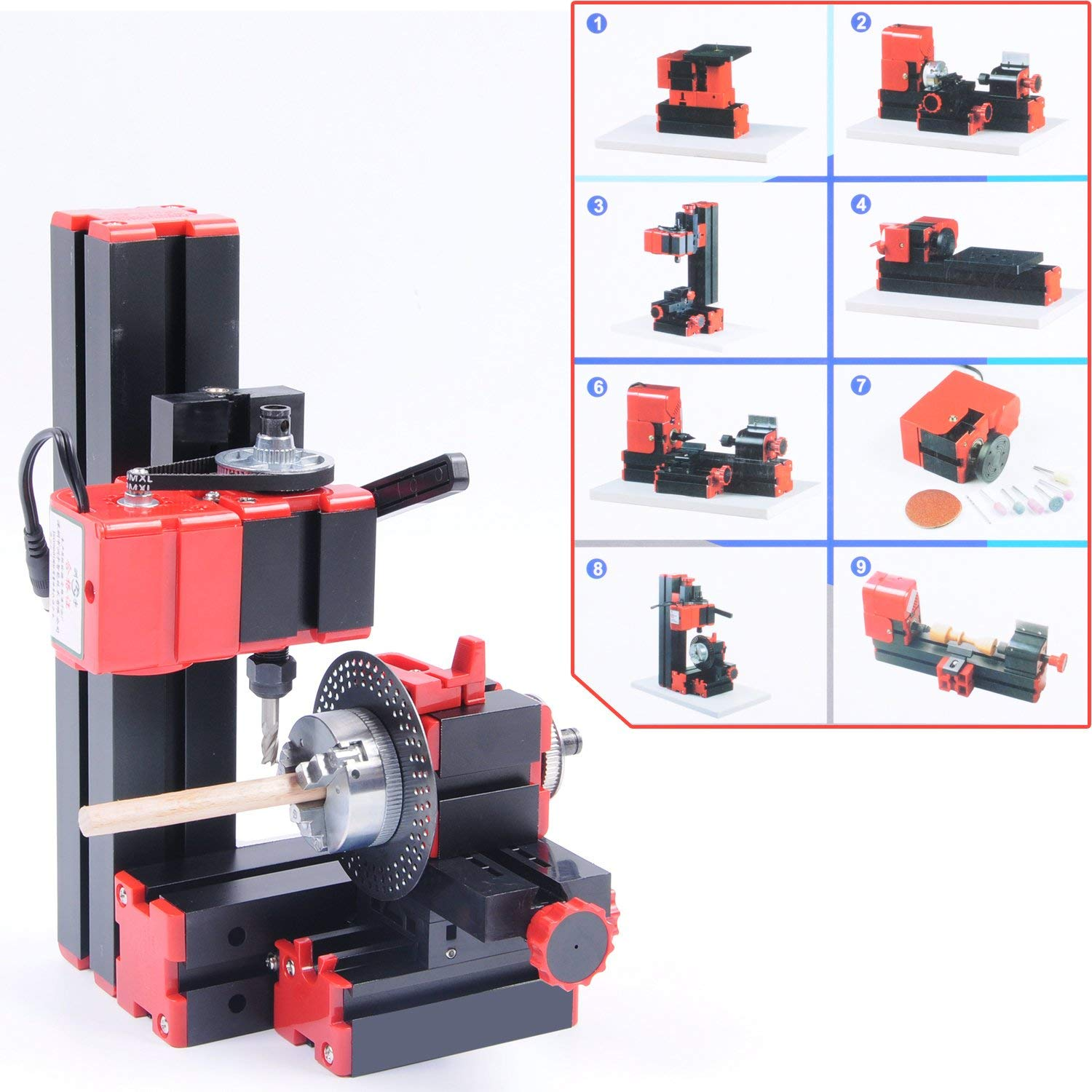 Wotefusi Industrial New 12V DC 2A 24W 8-in-1 Woodworking Mini Classic Lathe Handle Tool Indexing Milling Machine Sanding Sawing Wood-turning Driller Drilling Grinder