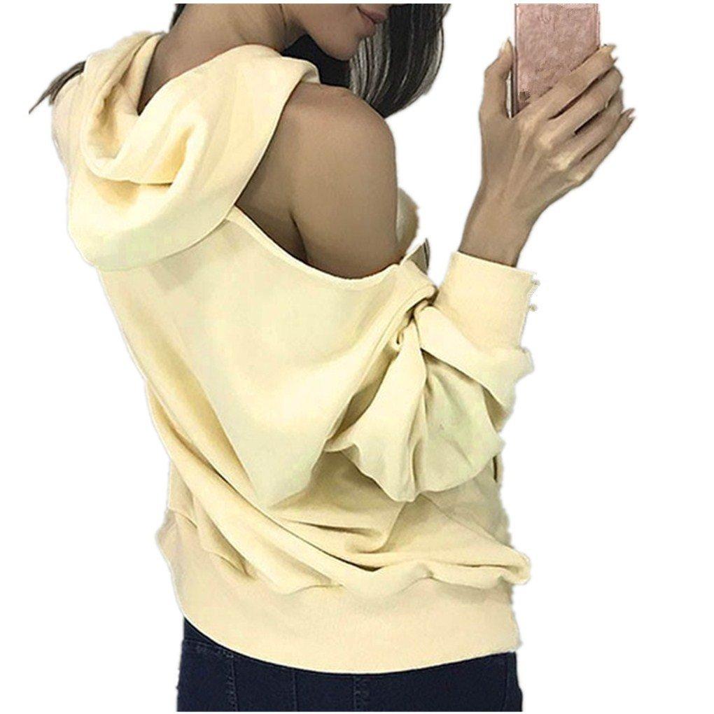 Women Blouse,Haoricu Fall New SexyAutumn Winter Women hooded Loose Sweater Top Blouse Casual (M, Yellow)